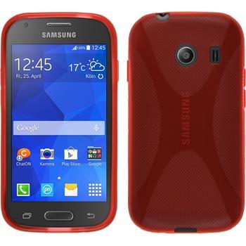 Silikon Hülle Galaxy Ace Style X-Style rot + 2 Schutzfolien