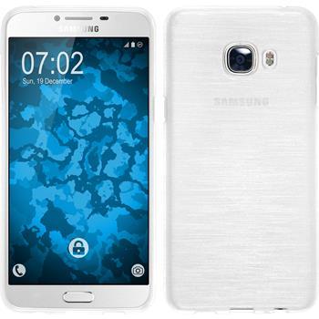 Silikon Hülle Galaxy C5 brushed weiß + 2 Schutzfolien