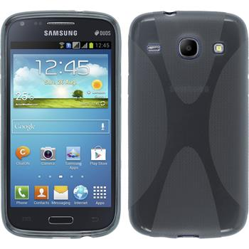 Silikon Hülle Galaxy Core X-Style grau + 2 Schutzfolien