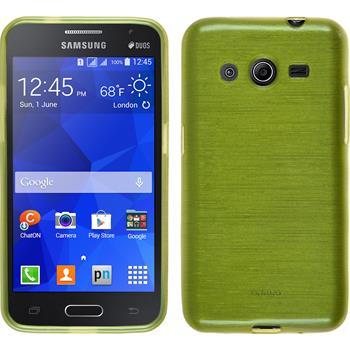 Silikon Hülle Galaxy Core 2 brushed pastellgrün + 2 Schutzfolien