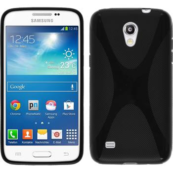 Silikon Hülle Galaxy Core Lite X-Style schwarz + 2 Schutzfolien