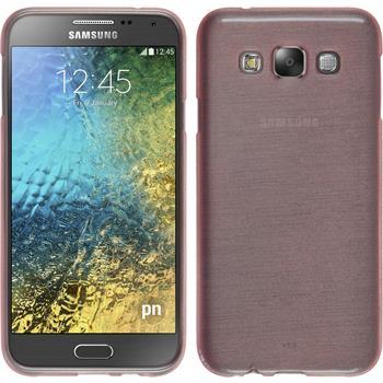 Silikon Hülle Galaxy E5 brushed rosa + 2 Schutzfolien