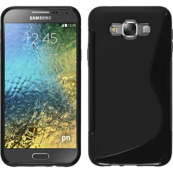 Silikon Hülle Galaxy E7 S-Style schwarz + 2 Schutzfolien