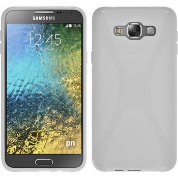 Silikon Hülle Galaxy E7 X-Style weiß + 2 Schutzfolien