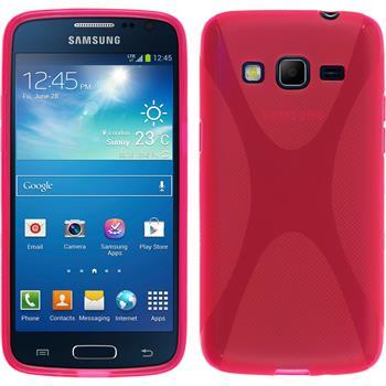 Silikon Hülle Galaxy Express 2 X-Style pink + 2 Schutzfolien