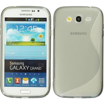 Silikon Hülle Galaxy Grand S-Style grau + 2 Schutzfolien
