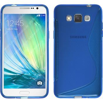 Silikon Hülle Galaxy Grand 3 S-Style blau + 2 Schutzfolien