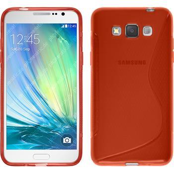 Silikon Hülle Galaxy Grand 3 S-Style rot + 2 Schutzfolien