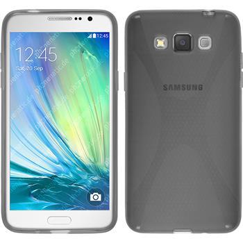 Silikon Hülle Galaxy Grand 3 X-Style grau + 2 Schutzfolien