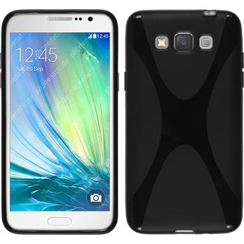 Silikon Hülle Galaxy Grand 3 X-Style schwarz + 2 Schutzfolien