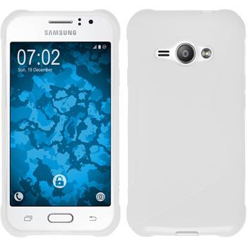 Silikon Hülle Galaxy J1 ACE S-Style weiß + 2 Schutzfolien