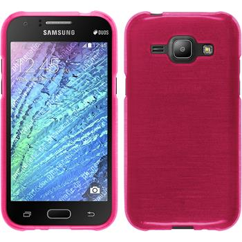 Silikon Hülle Galaxy J1 (2015 - J100) brushed pink + 2 Schutzfolien
