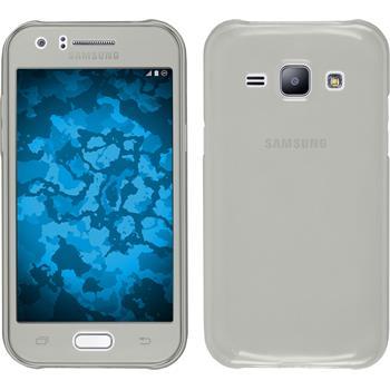 Silikon Hülle Galaxy J1 (2015 - J100) 360° Fullbody grau + 2 Schutzfolien