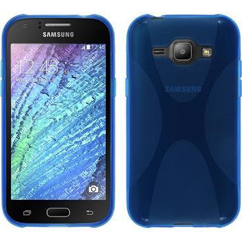 Silikon Hülle Galaxy J1 (2015 - J100) X-Style blau + 2 Schutzfolien