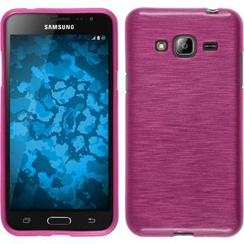 Silikon Hülle Galaxy J3 brushed pink + 2 Schutzfolien