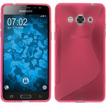 Silikon Hülle Galaxy J3 Pro S-Style pink + 2 Schutzfolien