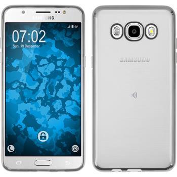 Silikon Hülle Galaxy J5 (2016) J510 Slim Fit silber + 2 Schutzfolien