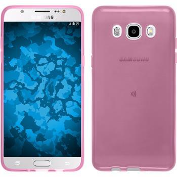 Silikon Hülle Galaxy J5 (2016) J510 transparent rosa + 2 Schutzfolien