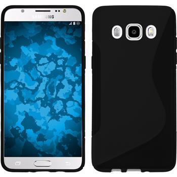 Silikon Hülle Galaxy J5 (2016) J510 S-Style schwarz + 2 Schutzfolien