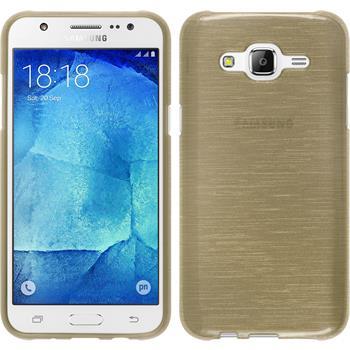 Silikon Hülle Galaxy J7 brushed gold + 2 Schutzfolien