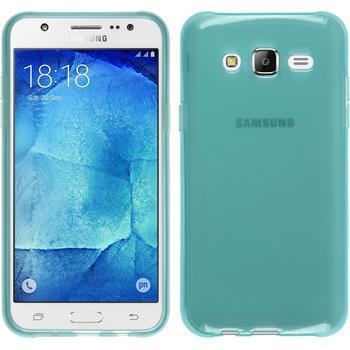 Silikon Hülle Galaxy J7 transparent türkis + 2 Schutzfolien