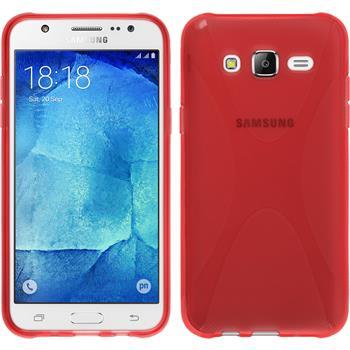 Silikon Hülle Galaxy J7 X-Style rot + 2 Schutzfolien