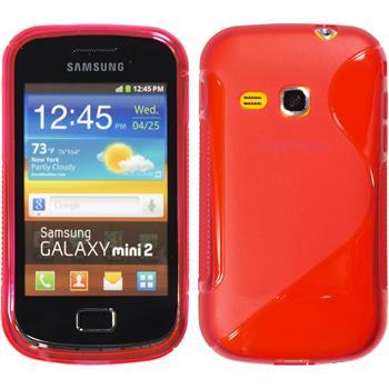 Silikon Hülle Galaxy Mini 2 S-Style rot + 2 Schutzfolien