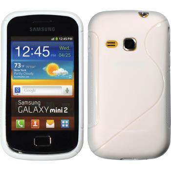Silikon Hülle Galaxy Mini 2 S-Style weiß + 2 Schutzfolien