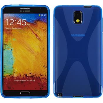 Silikon Hülle Galaxy Note 3 X-Style blau + 2 Schutzfolien