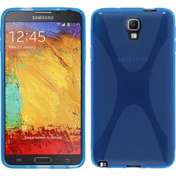 Silikon Hülle Galaxy Note 3 Neo X-Style blau + 2 Schutzfolien