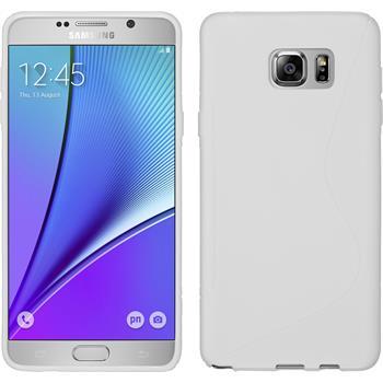 Silikon Hülle Galaxy Note 5 S-Style weiß + 2 Schutzfolien