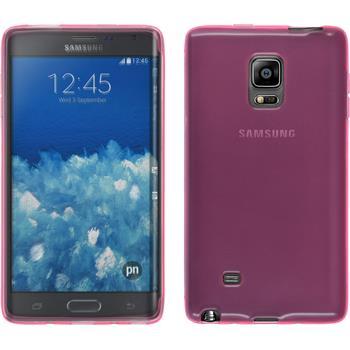 Silikon Hülle Galaxy Note Edge transparent rosa + 2 Schutzfolien