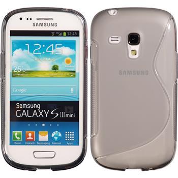 Silikon Hülle Galaxy S3 Mini S-Style grau + 2 Schutzfolien