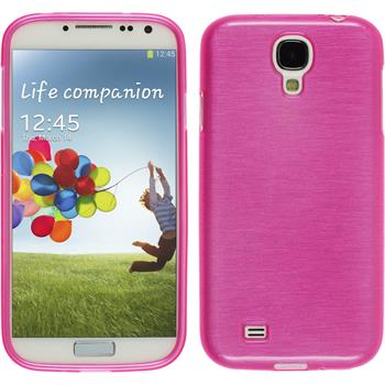 Silicone Case for Samsung Galaxy S4 brushed hot pink