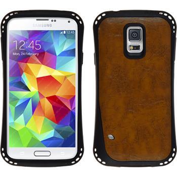 Silikon Hülle Galaxy S5 Lederoptik braun