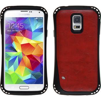 Silikon Hülle Galaxy S5 Lederoptik rot