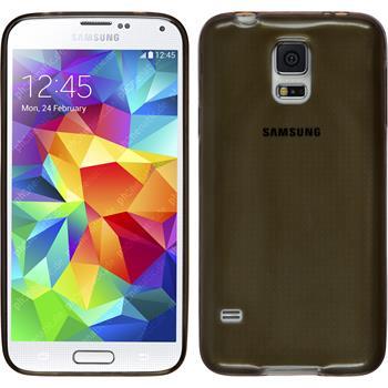 Silikon Hülle Galaxy S5 Slimcase grau + 2 Schutzfolien