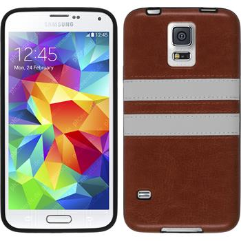 Silicone Case for Samsung Galaxy S5 Stripes brown