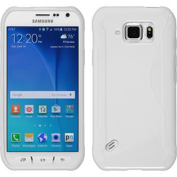 Silikon Hülle Galaxy S6 Active S-Style weiß + 2 Schutzfolien