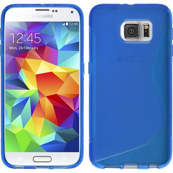 Silikon Hülle Galaxy S6 S-Style blau + 2 Schutzfolien