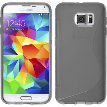 Silikon Hülle Galaxy S6 S-Style grau + 2 Schutzfolien