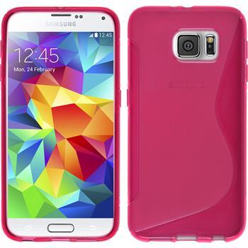 Silikon Hülle Galaxy S6 S-Style pink + 2 Schutzfolien