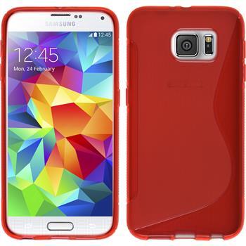 Silikon Hülle Galaxy S6 S-Style rot + 2 Schutzfolien