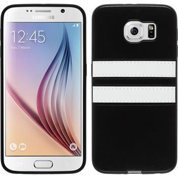 Silikon Hülle Galaxy S6 Stripes schwarz + 2 Schutzfolien