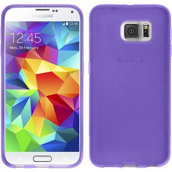 Silikon Hülle Galaxy S6 X-Style lila + 2 Schutzfolien