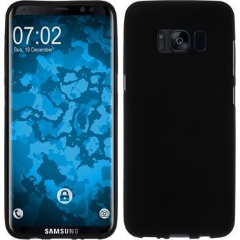 Silikon Hülle Galaxy S8 Plus matt schwarz + flexible Folie