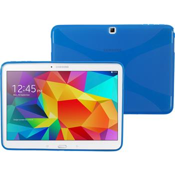 Silikon Hülle Galaxy Tab 4 10.1 X-Style blau + 2 Schutzfolien