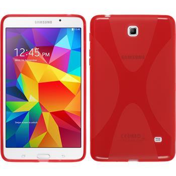 Silikon Hülle Galaxy Tab 4 7.0 X-Style rot + 2 Schutzfolien