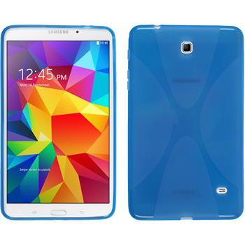 Silikon Hülle Galaxy Tab 4 8.0 X-Style blau + 2 Schutzfolien