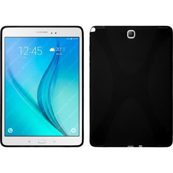 Silikon Hülle Galaxy Tab A 9.7 X-Style schwarz + 2 Schutzfolien